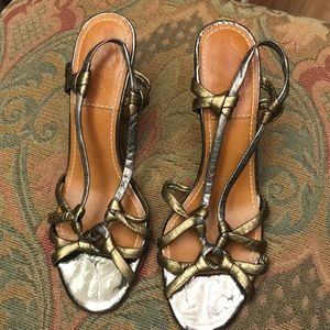 LANVIN gold / silver sandals heels size 38.5